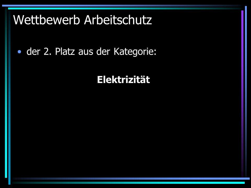 Wettbewerb Arbeitschutz der 2. Platz aus der Kategorie: Elektrizität