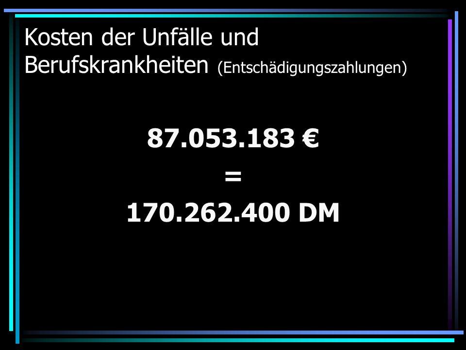 Kosten der Unfälle und Berufskrankheiten (Entschädigungszahlungen) 87.053.183 = 170.262.400 DM