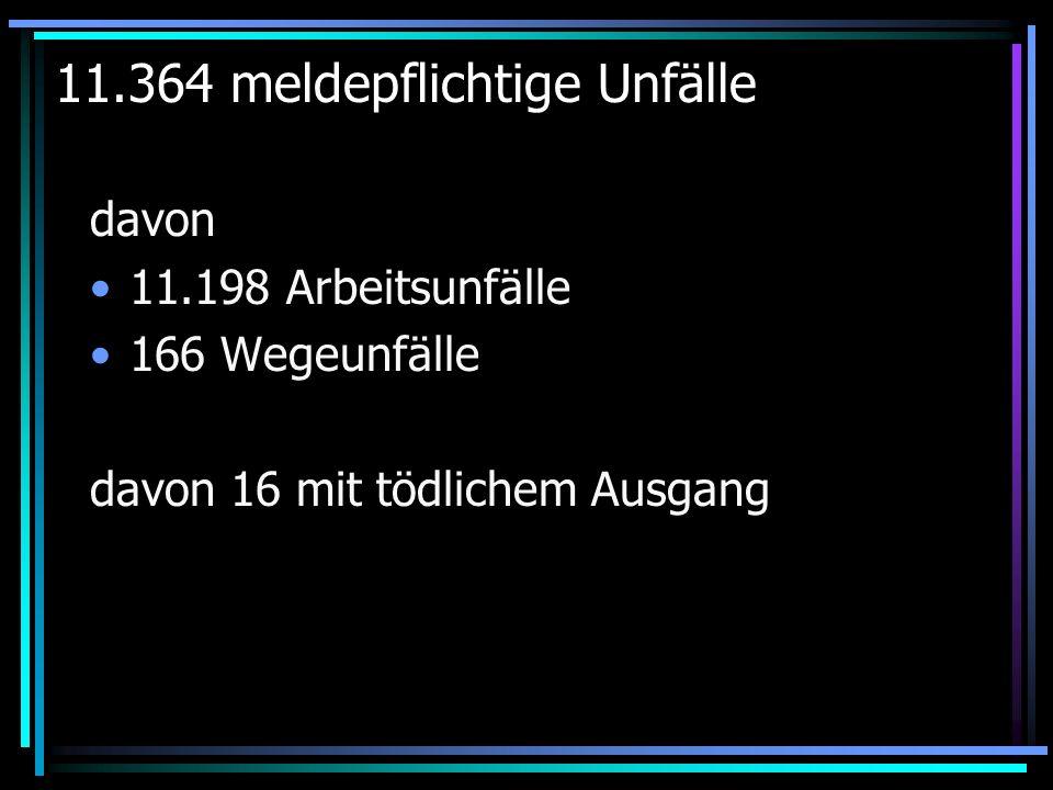 11.364 meldepflichtige Unfälle davon 11.198 Arbeitsunfälle 166 Wegeunfälle davon 16 mit tödlichem Ausgang