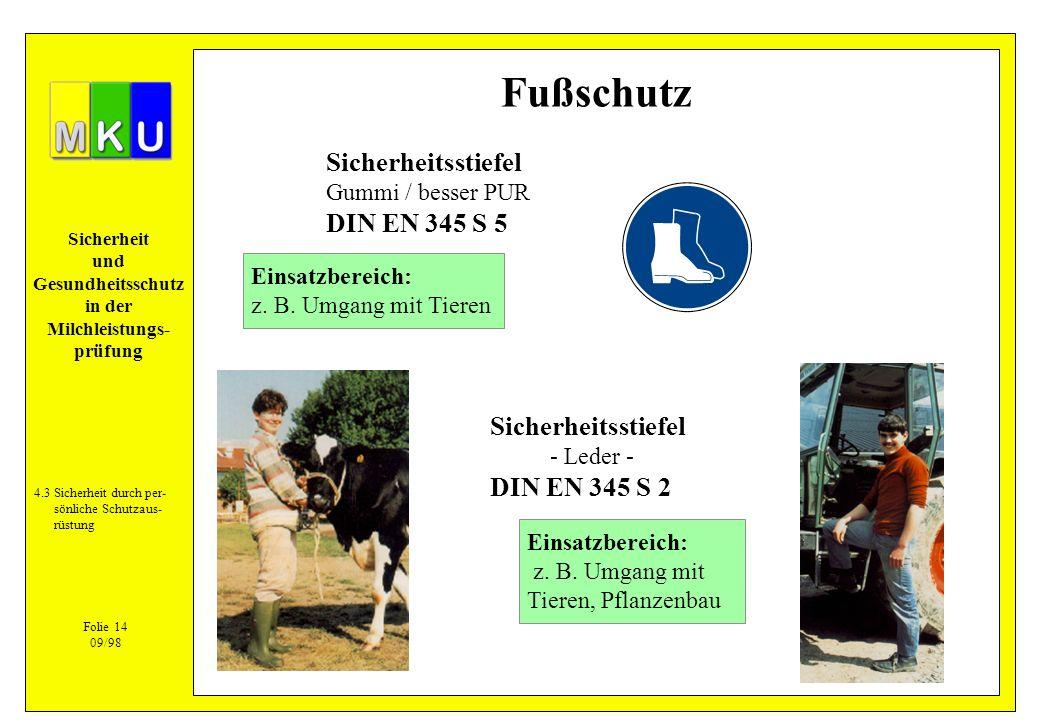 Sicherheit und Gesundheitsschutz in der Milchleistungs- prüfung 4.3Sicherheit durch per- sönliche Schutzaus- rüstung Folie 14 09/98 Fußschutz Sicherhe
