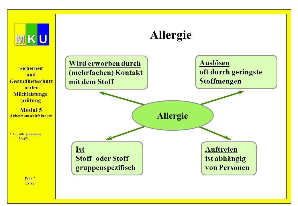 Sicherheit und Gesundheitsschutz in der Milchleistungs- prüfung Allergie 5.1.6Allergisierende Stoffe Wird erworben durch (mehrfachen) Kontakt mit dem
