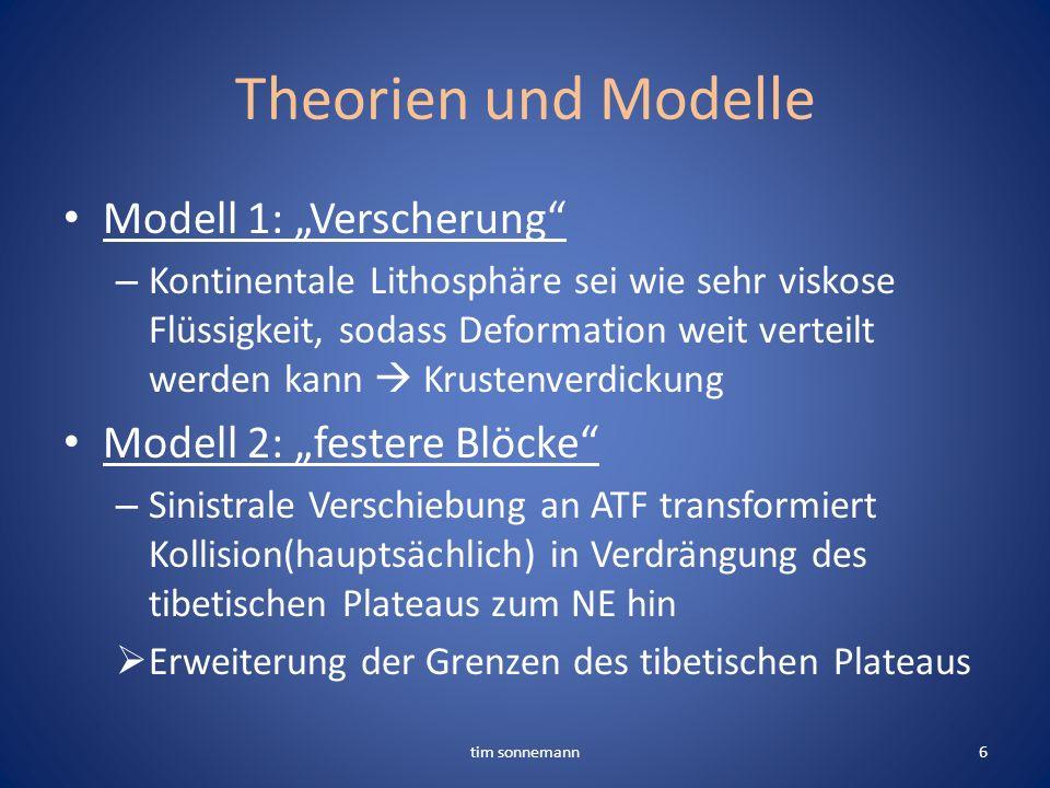 Theorien und Modelle Modell 1: Verscherung – Kontinentale Lithosphäre sei wie sehr viskose Flüssigkeit, sodass Deformation weit verteilt werden kann K
