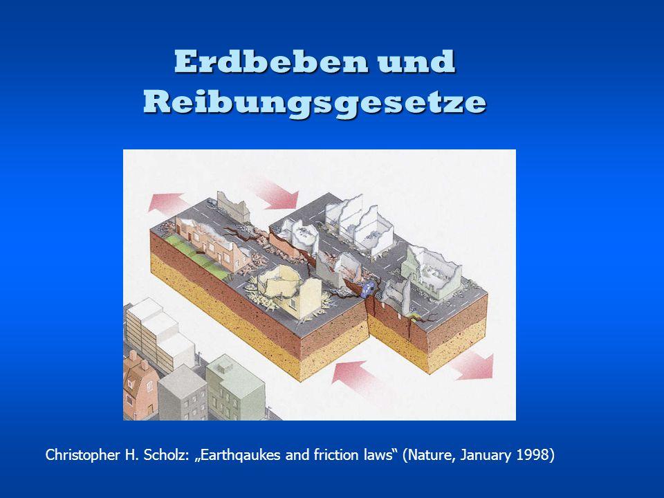 Gliederung 1.Konstitutives Reibungsgesetz 2.Reibungsstabilitätsregime 3.Seismische Kopplung 4.Stadien im seismischen Zyklus 5.Ausstehende Probleme in Erdbebenmechanismen
