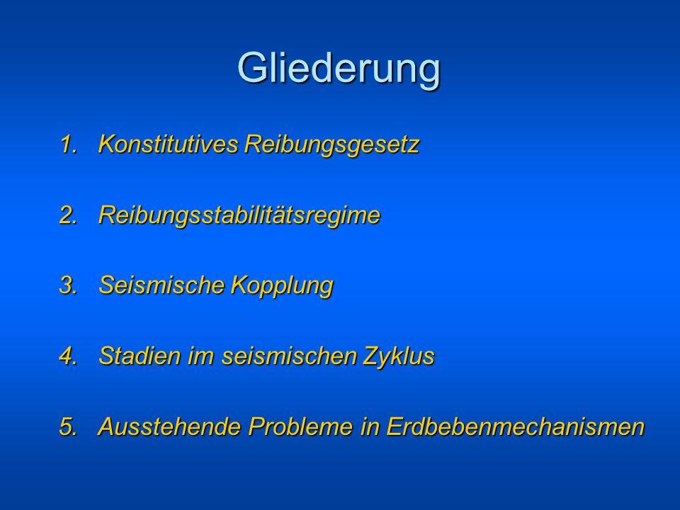 Modell Erdbeben = eher Reibungs-, als reines Sprödbruchphänomen Erdbeben = eher Reibungs-, als reines Sprödbruchphänomen Erdbeben entstehen selten als Folge neugebildeter Bruchflächen - Erdbeben entstehen selten als Folge neugebildeter Bruchflächen - eher durch Abrutschen einer präexistenten Störung eher durch Abrutschen einer präexistenten Störung Byerlee und Brace (1966): Stick-Slip Instabilität Slip = Erdbeben Stick = interseismische Periode zunehmender elastischer Spannung Reibungsgesetz Stabilitätsregime seism.