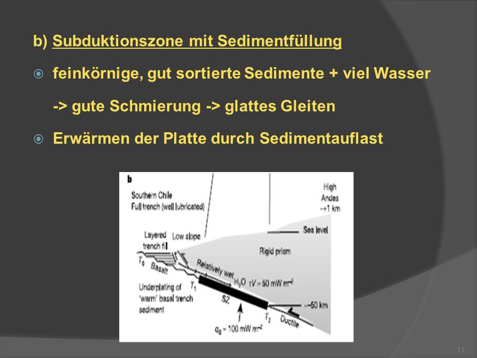 b) Subduktionszone mit Sedimentfüllung feinkörnige, gut sortierte Sedimente + viel Wasser -> gute Schmierung -> glattes Gleiten Erwärmen der Platte du