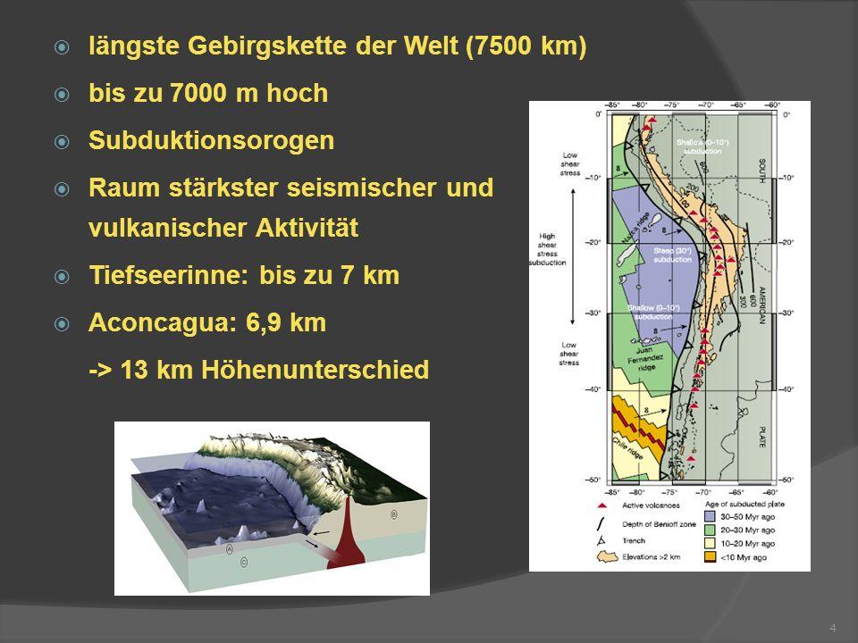 längste Gebirgskette der Welt (7500 km) bis zu 7000 m hoch Subduktionsorogen Raum stärkster seismischer und vulkanischer Aktivität Tiefseerinne: bis z