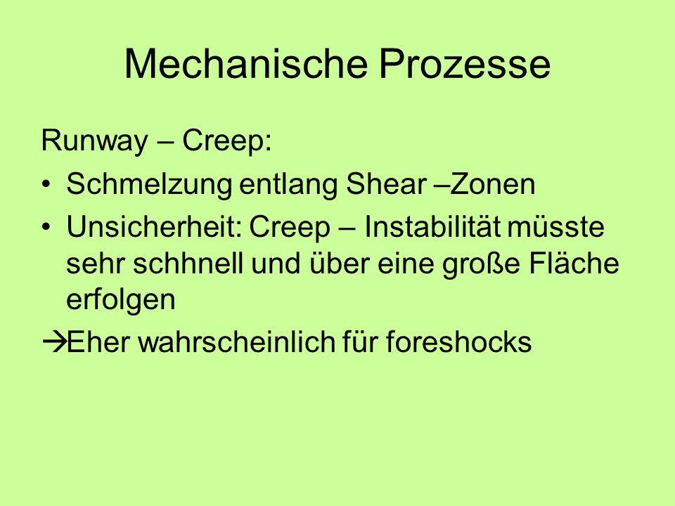 Mechanische Prozesse Runway – Creep: Schmelzung entlang Shear –Zonen Unsicherheit: Creep – Instabilität müsste sehr schhnell und über eine große Fläche erfolgen Eher wahrscheinlich für foreshocks