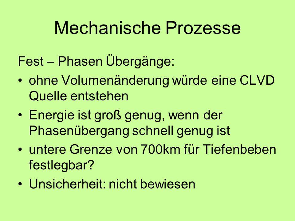 Mechanische Prozesse Fest – Phasen Übergänge: ohne Volumenänderung würde eine CLVD Quelle entstehen Energie ist groß genug, wenn der Phasenübergang schnell genug ist untere Grenze von 700km für Tiefenbeben festlegbar.