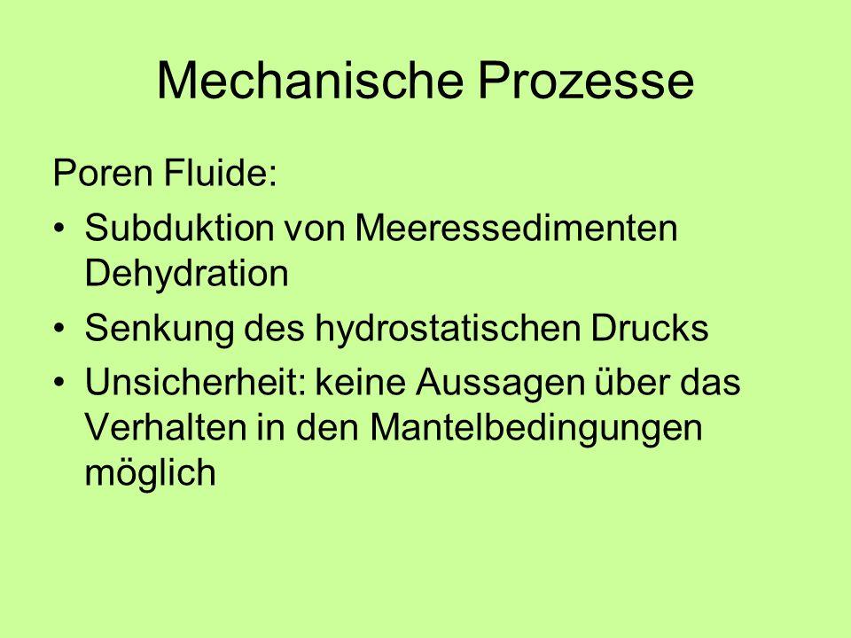 Mechanische Prozesse Poren Fluide: Subduktion von Meeressedimenten Dehydration Senkung des hydrostatischen Drucks Unsicherheit: keine Aussagen über das Verhalten in den Mantelbedingungen möglich