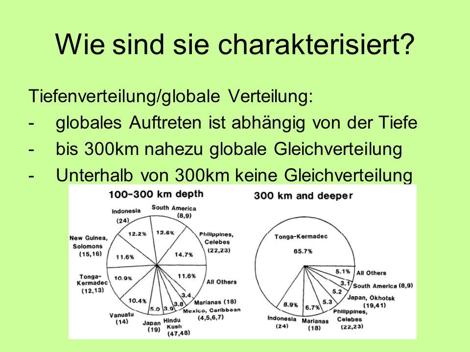 Wie sind sie charakterisiert? Tiefenverteilung/globale Verteilung: -globales Auftreten ist abhängig von der Tiefe -bis 300km nahezu globale Gleichvert