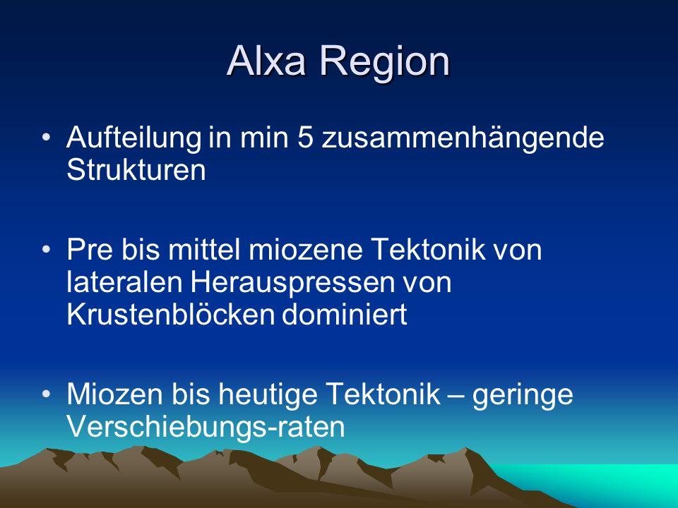 Alxa Region Aufteilung in min 5 zusammenhängende Strukturen Pre bis mittel miozene Tektonik von lateralen Herauspressen von Krustenblöcken dominiert M