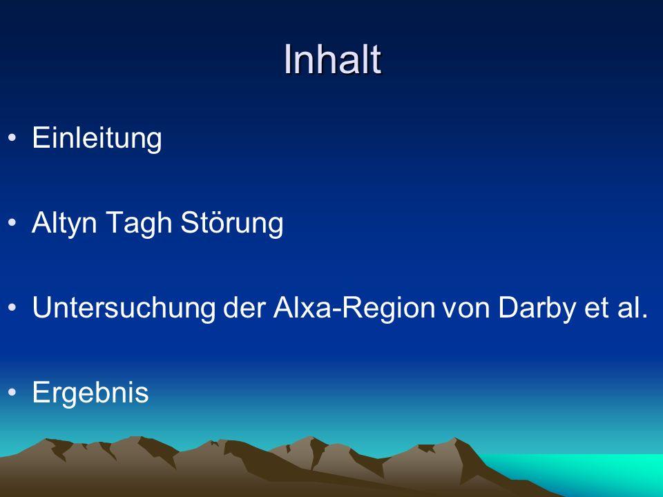 Alxa Region Aufteilung in min 5 zusammenhängende Strukturen Pre bis mittel miozene Tektonik von lateralen Herauspressen von Krustenblöcken dominiert Miozen bis heutige Tektonik – geringe Verschiebungs-raten
