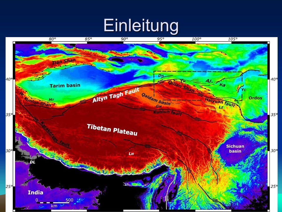 Einleitung 3 Prozesse die Spannungen im Plateau erzeugen können –kontinuierliche Krusten Deformation –Plattenähnliches laterales Herausschieben –Lower crustal flow