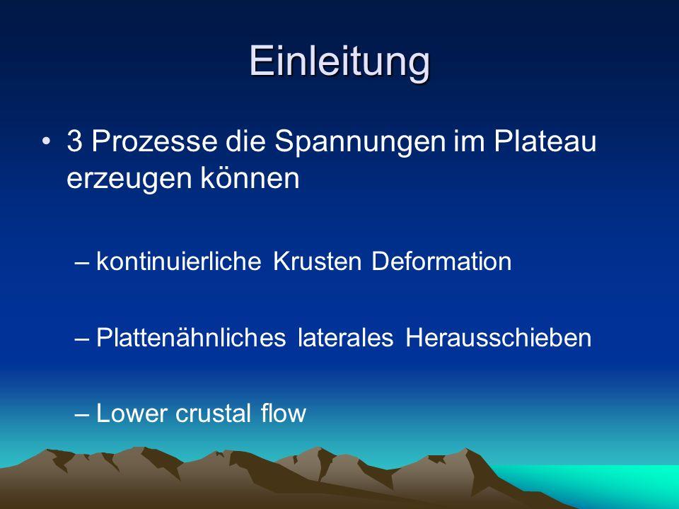Einleitung 3 Prozesse die Spannungen im Plateau erzeugen können –kontinuierliche Krusten Deformation –Plattenähnliches laterales Herausschieben –Lower