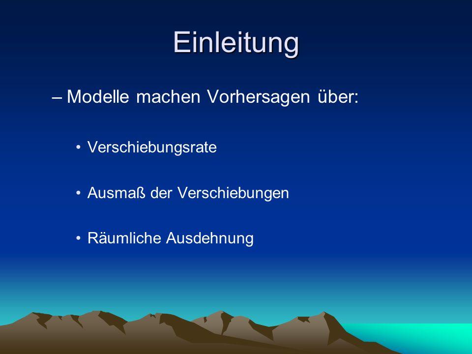Einleitung –Modelle machen Vorhersagen über: Verschiebungsrate Ausmaß der Verschiebungen Räumliche Ausdehnung