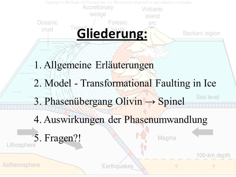 Gliederung: 1. Allgemeine Erläuterungen 2. Model - Transformational Faulting in Ice 3. Phasenübergang Olivin Spinel 4. Auswirkungen der Phasenumwandlu