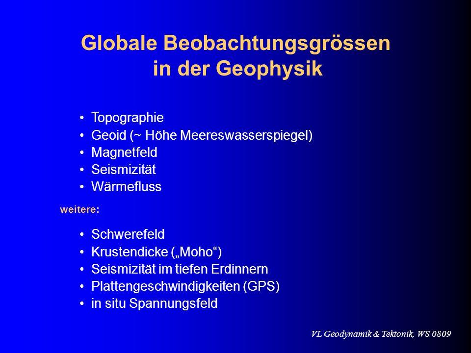VL Geodynamik & Tektonik, WS 0809 Globale Beobachtungsgrössen in der Geophysik Topographie Geoid (~ Höhe Meereswasserspiegel) Magnetfeld Seismizität W