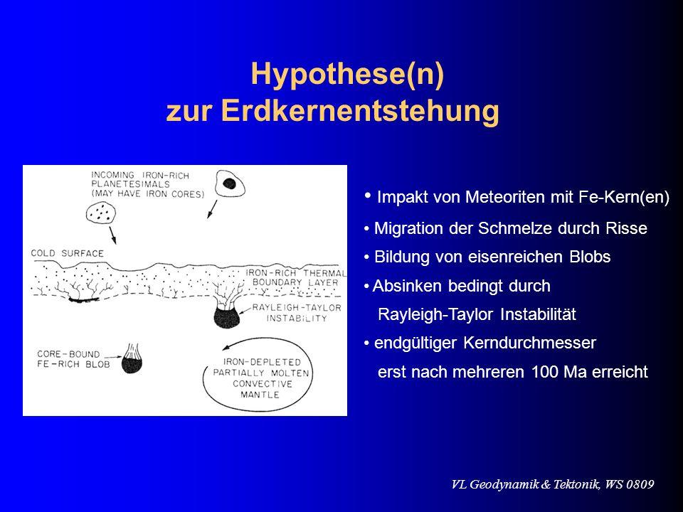 VL Geodynamik & Tektonik, WS 0809 Hypothese(n) zur Erdkernentstehung Impakt von Meteoriten mit Fe-Kern(en) Migration der Schmelze durch Risse Bildung