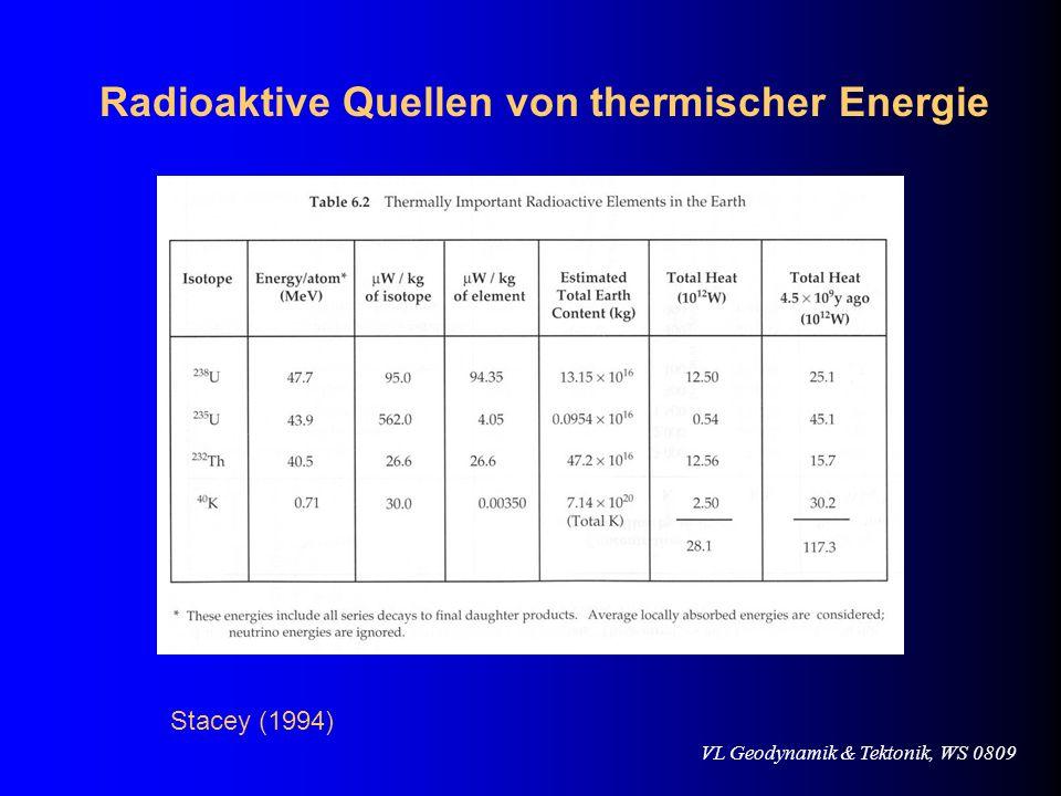 VL Geodynamik & Tektonik, WS 0809 Radioaktive Quellen von thermischer Energie Stacey (1994)