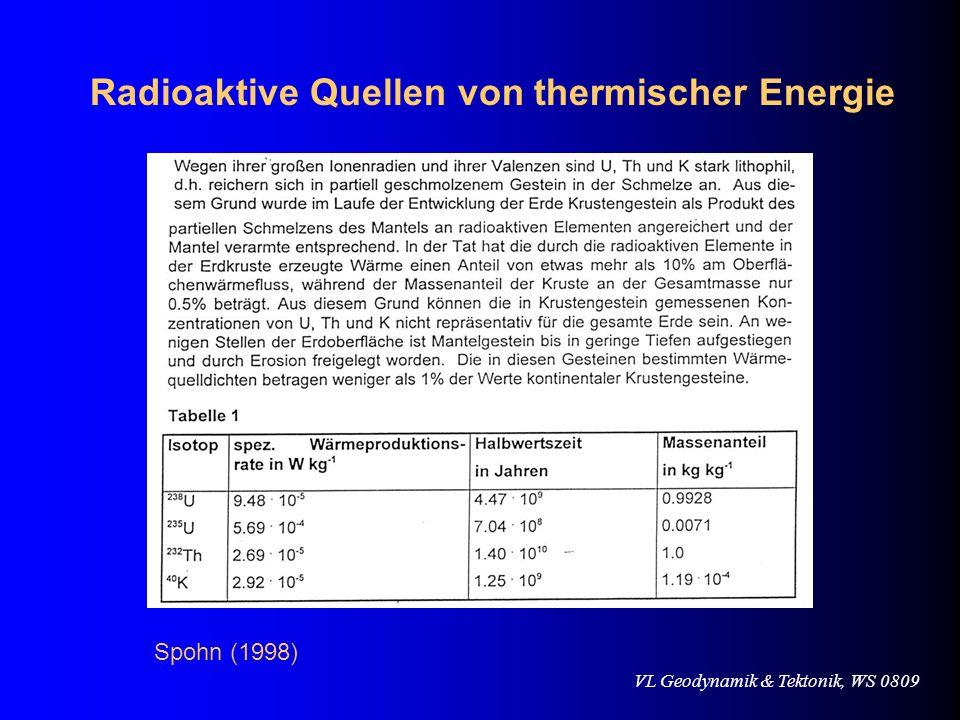 VL Geodynamik & Tektonik, WS 0809 Radioaktive Quellen von thermischer Energie Spohn (1998)