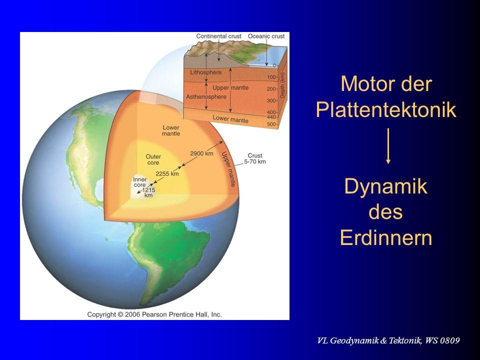 VL Geodynamik & Tektonik, WS 0809 Motor der Plattentektonik Dynamik des Erdinnern