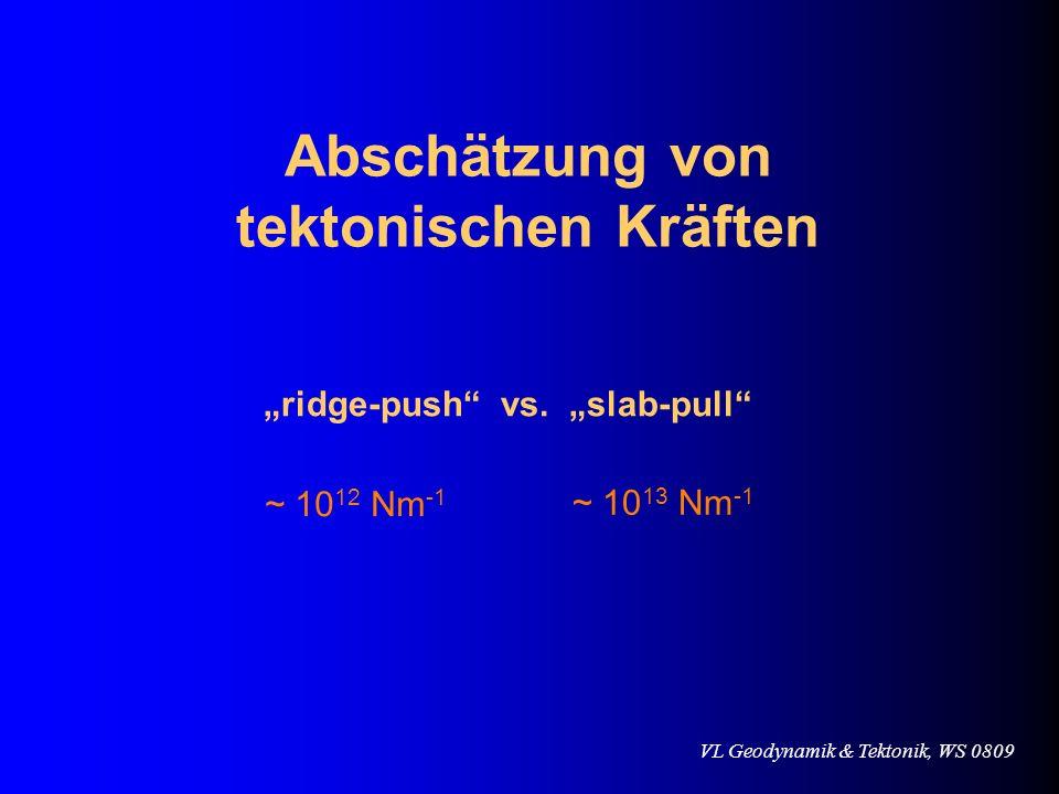 VL Geodynamik & Tektonik, WS 0809 Abschätzung von tektonischen Kräften ridge-push vs. slab-pull ~ 10 12 Nm -1 ~ 10 13 Nm -1