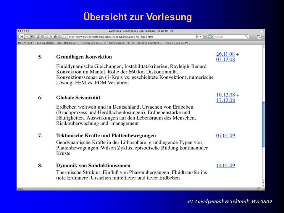 VL Geodynamik & Tektonik, WS 0809 Beispielrechnungen für die elastische Schwelle Kearey & Vine 1990