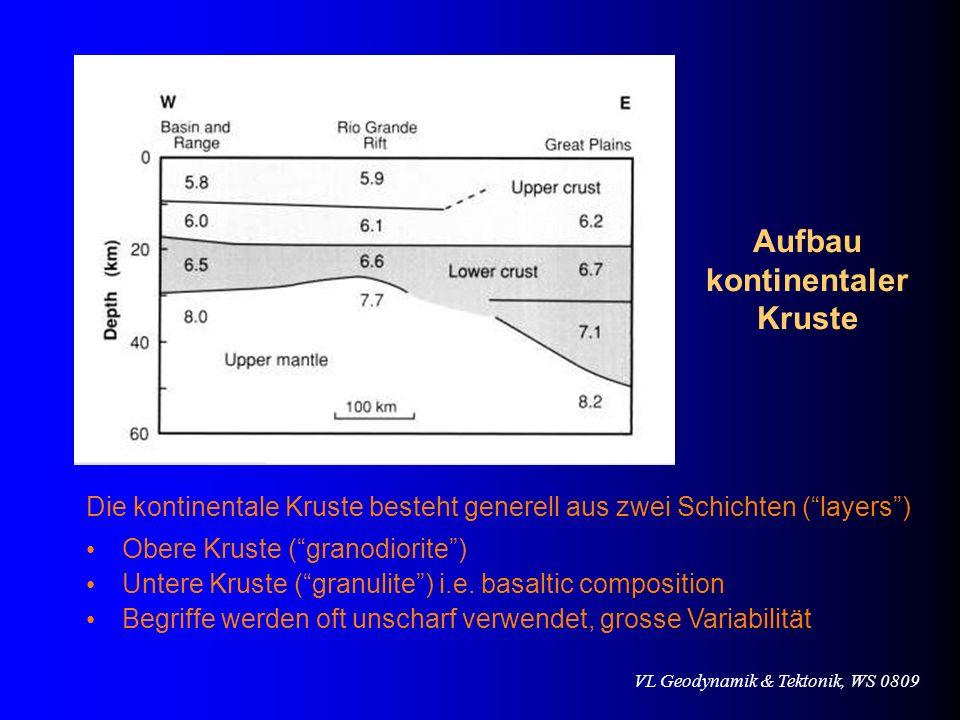 VL Geodynamik & Tektonik, WS 0809 Die kontinentale Kruste besteht generell aus zwei Schichten (layers) Obere Kruste (granodiorite) Untere Kruste (gran