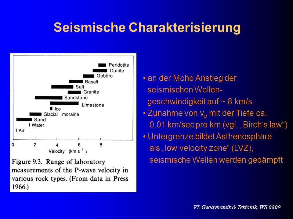 VL Geodynamik & Tektonik, WS 0809 Seismische Charakterisierung an der Moho Anstieg der seismischen Wellen- geschwindigkeit auf ~ 8 km/s Zunahme von v