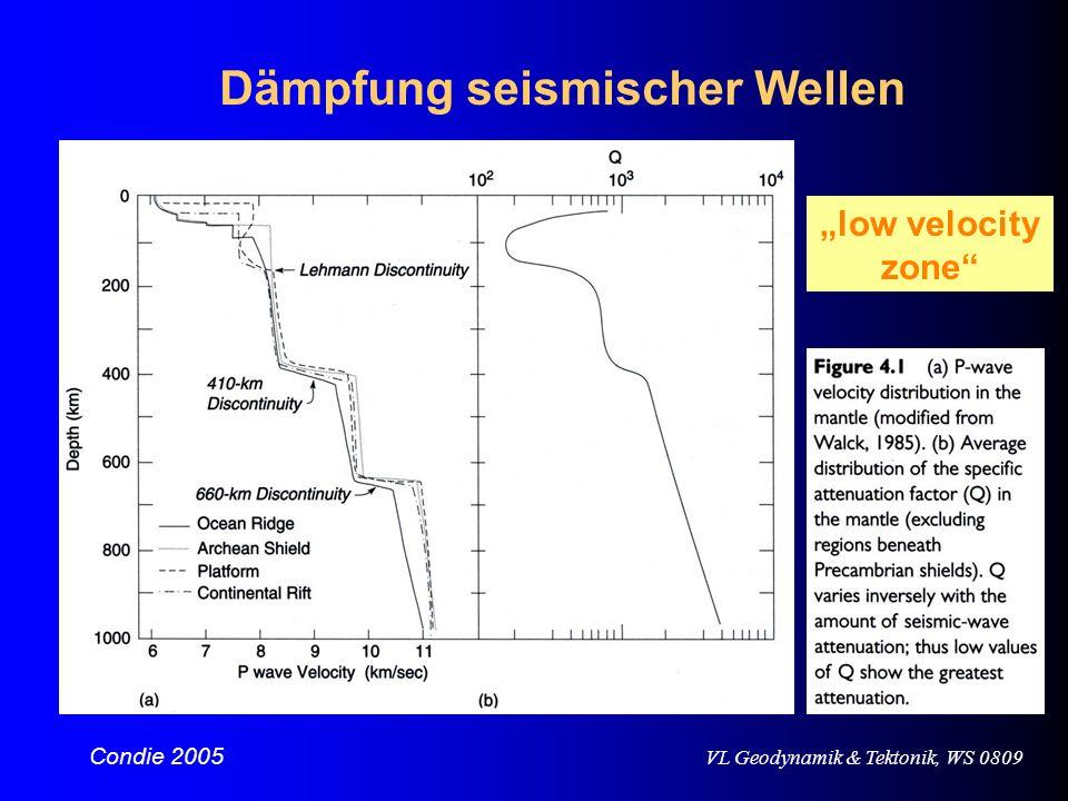 VL Geodynamik & Tektonik, WS 0809 Dämpfung seismischer Wellen Condie 2005 low velocity zone