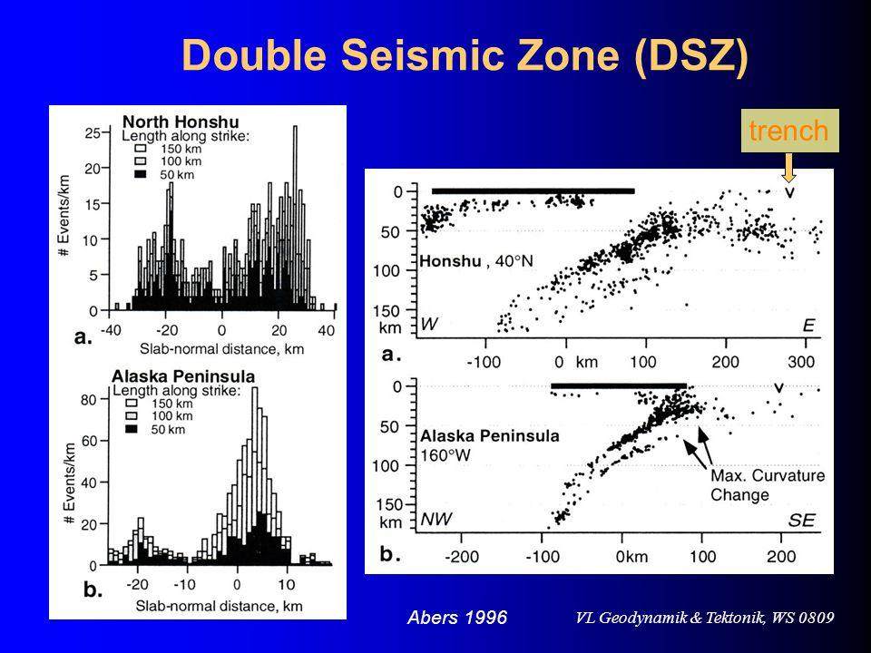 VL Geodynamik & Tektonik, WS 0809 Double Seismic Zone (DSZ) Abers 1996 trench