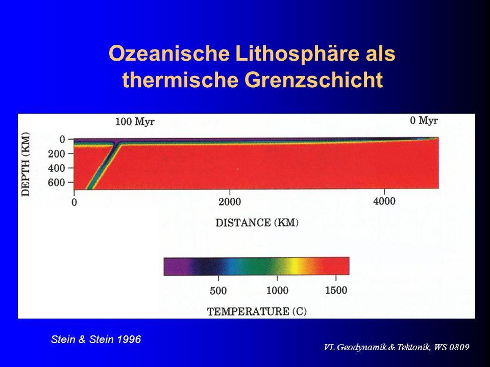 VL Geodynamik & Tektonik, WS 0809 Ozeanische Lithosphäre als thermische Grenzschicht Stein & Stein 1996