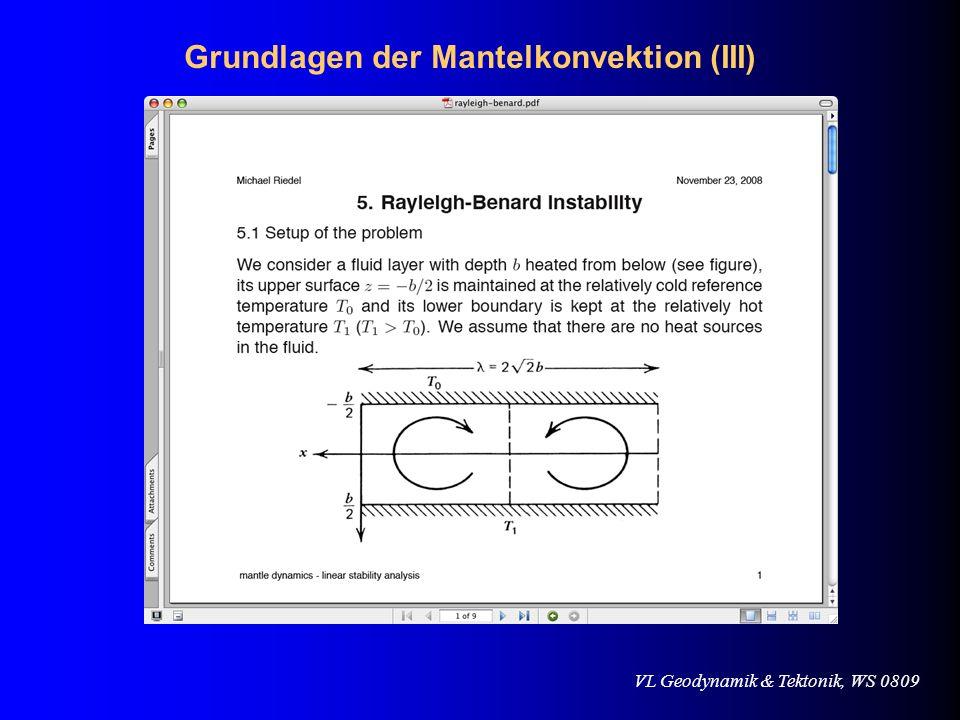 VL Geodynamik & Tektonik, WS 0809 Abschätzung von tektonischen Kräften ridge-push vs.