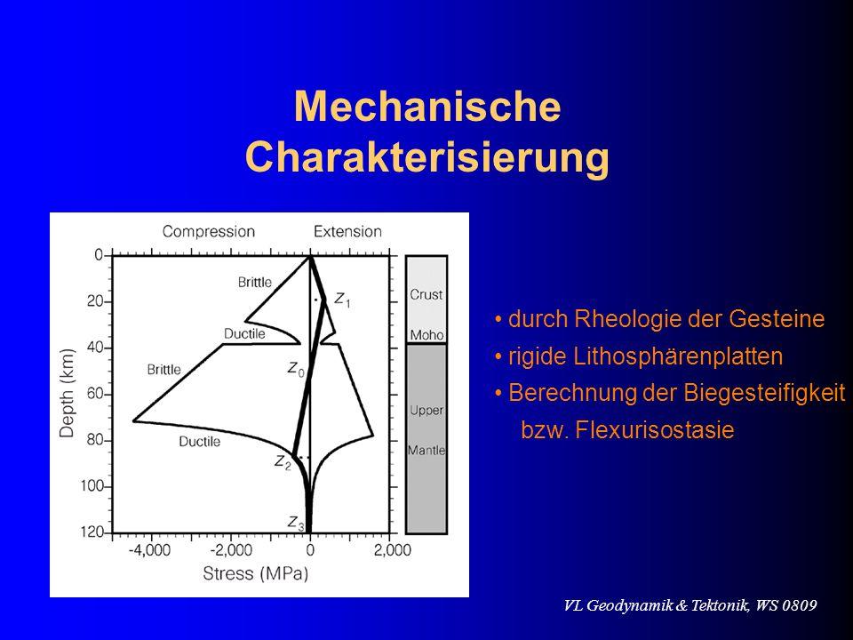 Mechanische Charakterisierung durch Rheologie der Gesteine rigide Lithosphärenplatten Berechnung der Biegesteifigkeit bzw. Flexurisostasie