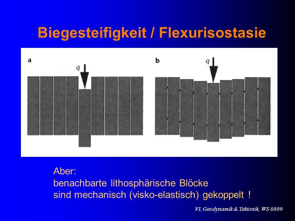 VL Geodynamik & Tektonik, WS 0809 Biegesteifigkeit / Flexurisostasie Aber: benachbarte lithosphärische Blöcke sind mechanisch (visko-elastisch) gekopp
