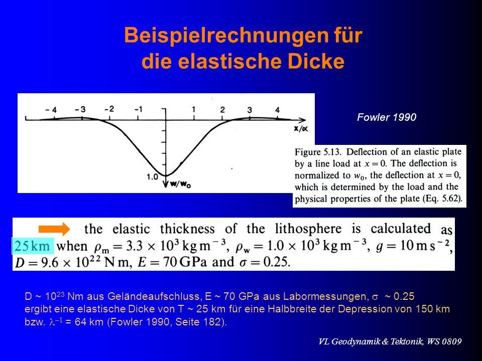 VL Geodynamik & Tektonik, WS 0809 Beispielrechnungen für die elastische Dicke D ~ 10 23 Nm aus Geländeaufschluss, E ~ 70 GPa aus Labormessungen, ~ 0.2