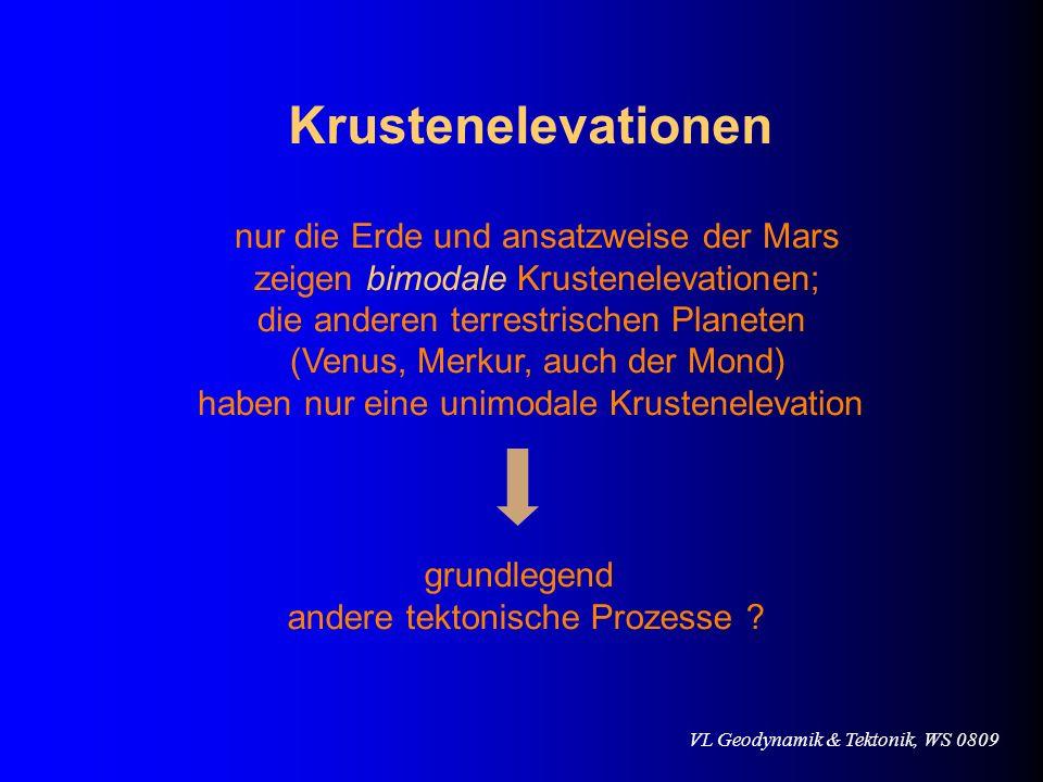 VL Geodynamik & Tektonik, WS 0809 Krustenelevationen nur die Erde und ansatzweise der Mars zeigen bimodale Krustenelevationen; die anderen terrestrisc