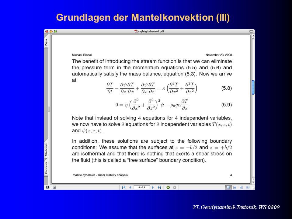 VL Geodynamik & Tektonik, WS 0809 Biegesteifigkeit / Flexurisostasie Aber: benachbarte lithosphärische Blöcke sind mechanisch (visko-elastisch) gekoppelt !