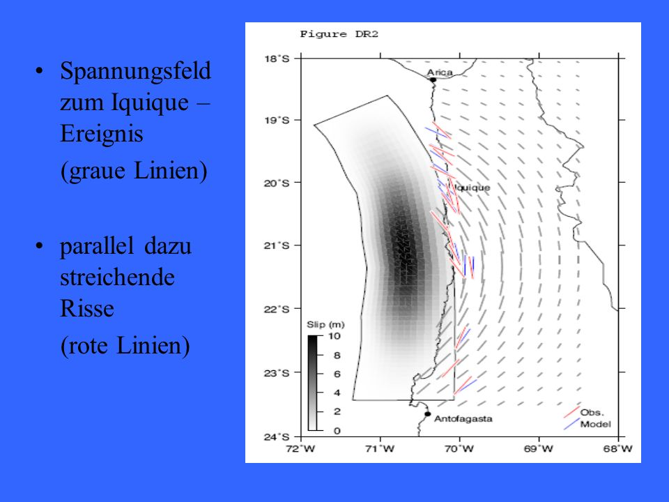 Spannungsfeld zum Iquique – Ereignis (graue Linien) parallel dazu streichende Risse (rote Linien)