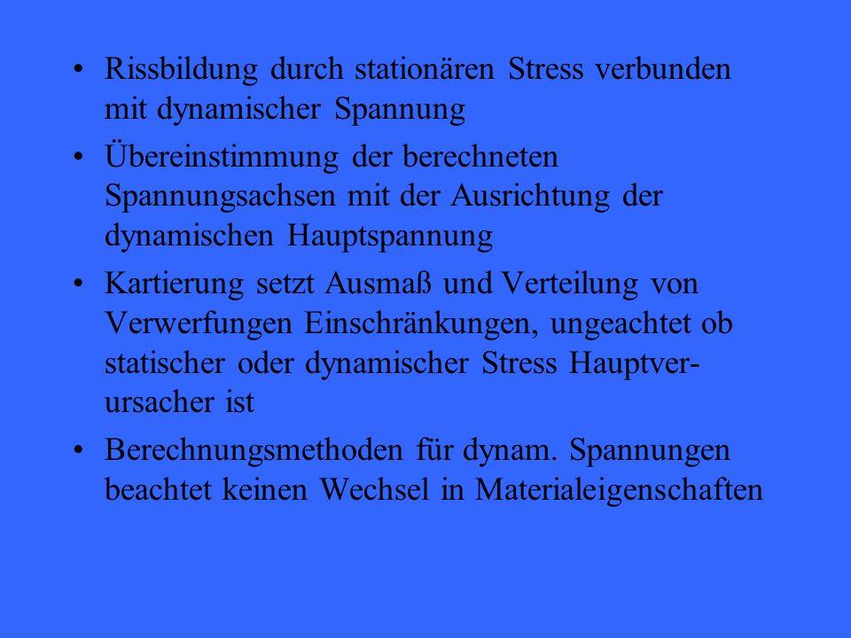 Rissbildung durch stationären Stress verbunden mit dynamischer Spannung Übereinstimmung der berechneten Spannungsachsen mit der Ausrichtung der dynamischen Hauptspannung Kartierung setzt Ausmaß und Verteilung von Verwerfungen Einschränkungen, ungeachtet ob statischer oder dynamischer Stress Hauptver- ursacher ist Berechnungsmethoden für dynam.