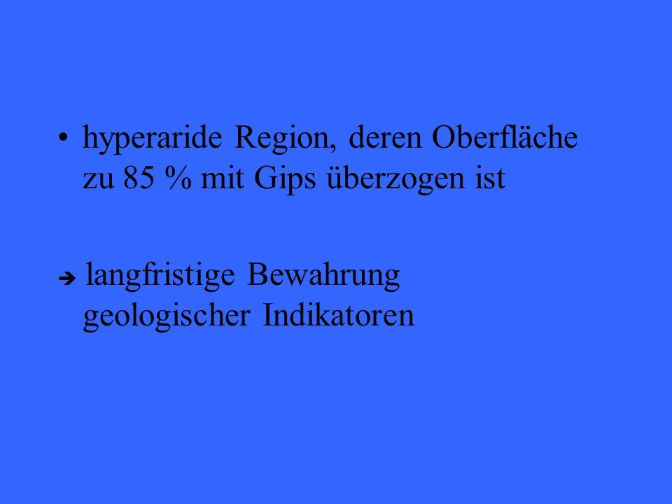 hyperaride Region, deren Oberfläche zu 85 % mit Gips überzogen ist langfristige Bewahrung geologischer Indikatoren