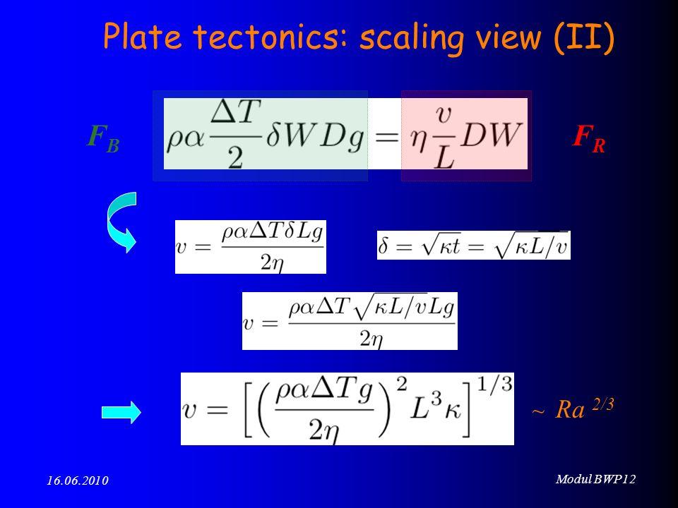 Modul BWP12 16.06.2010 FBFB FRFR ~ Ra 2/3 Plate tectonics: scaling view (II)