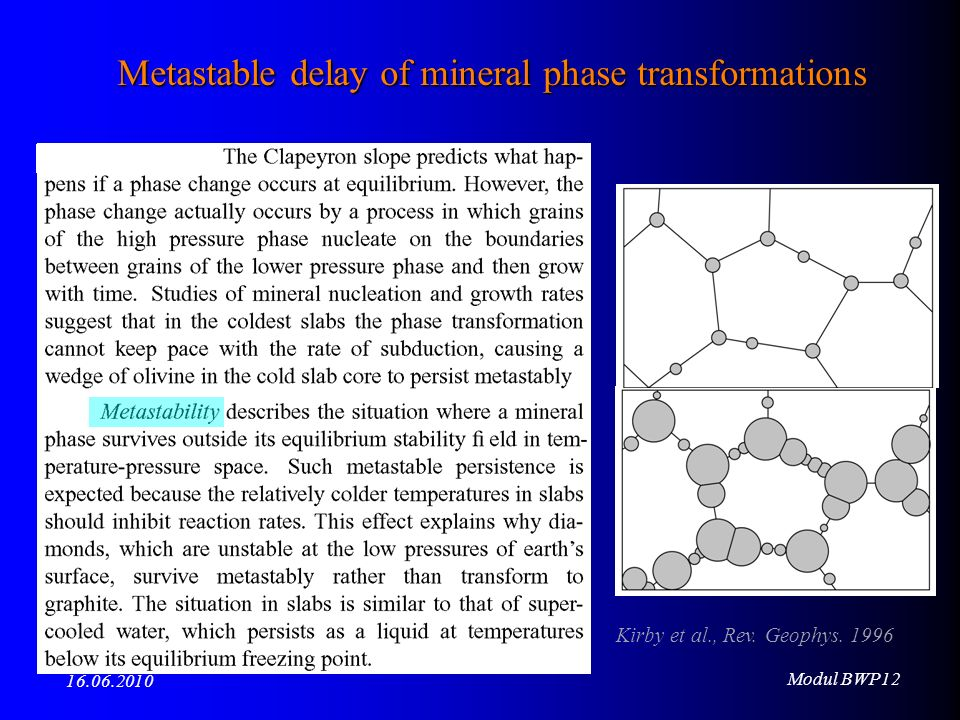Modul BWP12 16.06.2010 Kirby et al., Rev. Geophys. 1996 Metastable delay of mineral phase transformations