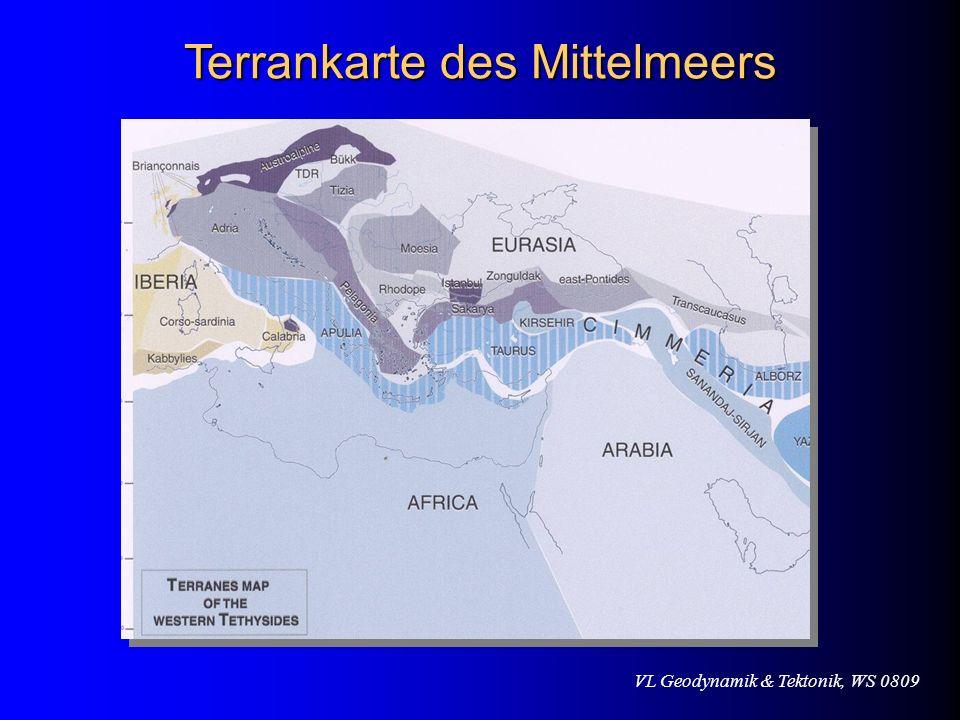 VL Geodynamik & Tektonik, WS 0809 Terrankarte des Mittelmeers