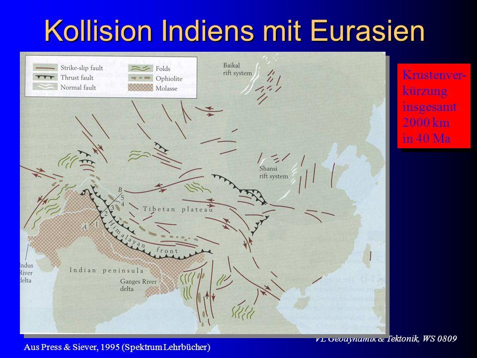VL Geodynamik & Tektonik, WS 0809 Kollision Indiens mit Eurasien Krustenver- kürzung insgesamt 2000 km in 40 Ma Krustenver- kürzung insgesamt 2000 km