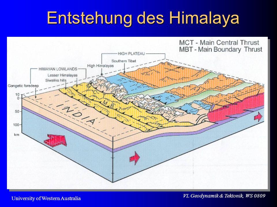 VL Geodynamik & Tektonik, WS 0809 Entstehung des Himalaya University of Western Australia