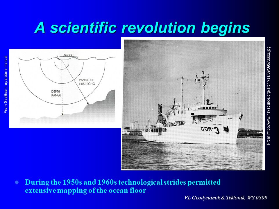 VL Geodynamik & Tektonik, WS 0809 A scientific revolution begins During the 1950s and 1960s technological strides permitted extensive mapping of the o