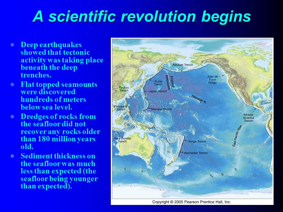 VL Geodynamik & Tektonik, WS 0809 A scientific revolution begins Deep earthquakes showed that tectonic activity was taking place beneath the deep tren