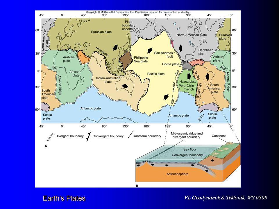 VL Geodynamik & Tektonik, WS 0809 Merkmale von kontinentalen Gräben Hohe Seismizität Hoher Wärmefluß (> 2.0 HFU) Alkaliner Magmatismus und Vulkanismus Alkaliner Magmatismus und Vulkanismus Negative Schwere-Anomalie (Bouguer-Schwere) Negative Schwere-Anomalie (Bouguer-Schwere)