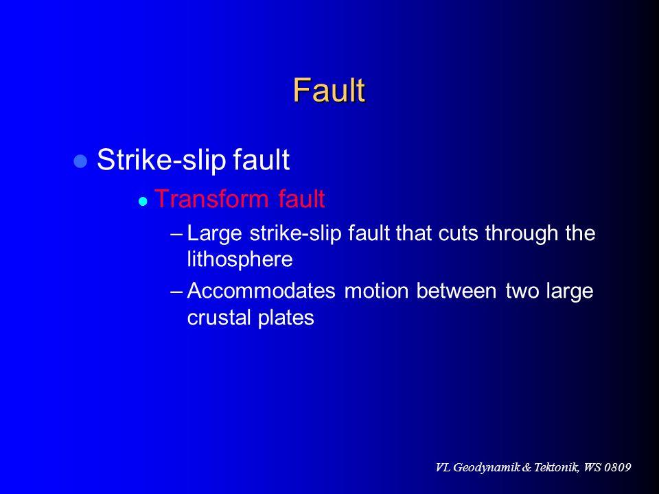 VL Geodynamik & Tektonik, WS 0809 Fault Strike-slip fault Transform fault –Large strike-slip fault that cuts through the lithosphere –Accommodates mot
